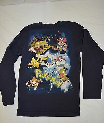 Pokemon Nintendo Girls Boys Unisex Blue Long Sleeve T-Shirt Tee Pikachu Sz XL