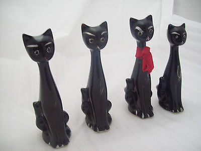 Vintage Small Long Necked Black Cats Ornament Kitsch Retro
