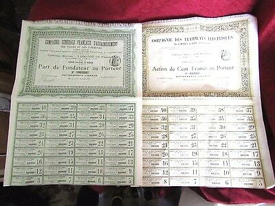 2 old share certificates dated fevrier 1879 and janvier 1896