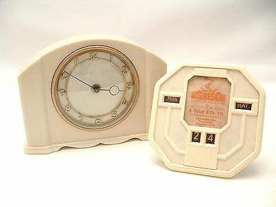 SMITHS Art Deco Ivory Bakelite Clock & Matching Desk Calendar GREAT TV/FILM PROP