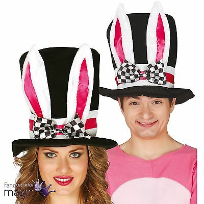 Black Top Hat With White Bunny Rabbit Ears Easter Mad Hatter Fancy Dress Costume