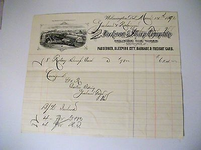 Collectible 1892 Bill Head JACKSON & SHARP COMPANY Railroad Cars-Wilmington,Del
