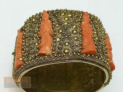China Armreif Silber Koralle Vintage Chinese Silver Bracelet Coral Buddha