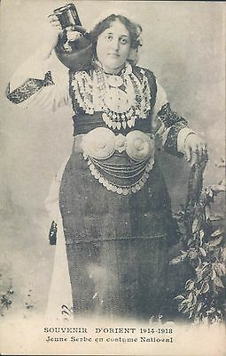 SERBIA Young Serbian woman in traditional costume 1918 PC