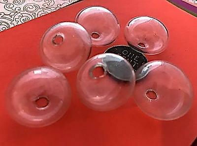 Very Vintage 20mm Hand Blown Hollow Clear Glass One Hole Beads Japan 6