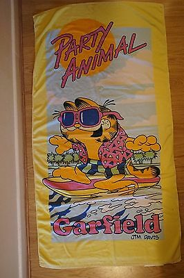 Garfield Vintage Collectable 1980's 1990's Beach Towel Party Animal Sunglasses
