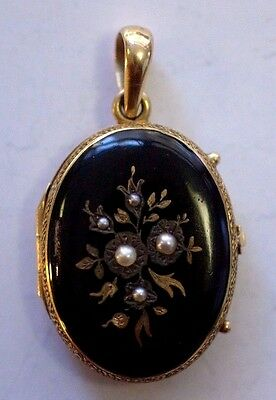 Antique Victorian 14K Gold Black Enamel Locket with Pearls AS/IS