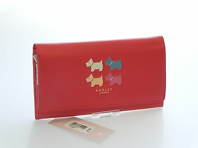 Radley Quad Dog Large Matinee Purse In Red Leather With Or Without Gift Box BNWT
