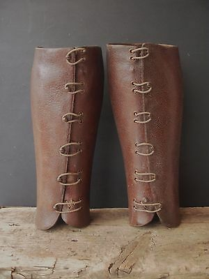 Antique Equestrian Leather Gaiters, Half Chaps, Cavalry, Military, Wwi ?
