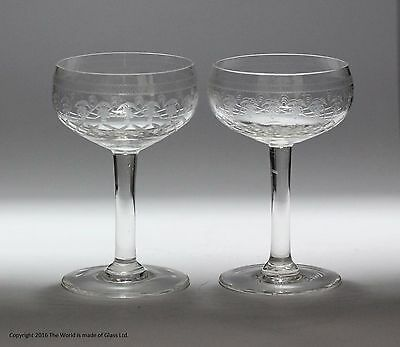 Scarce pair of Pall Mall/Lady Hamilton pattern hock glasses - etched/cut