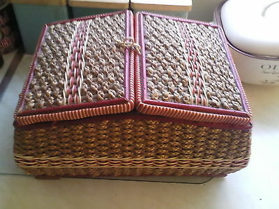 vintage sewing box , buttons , spools etc