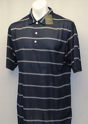 New Mens Dunning Golf golf shirt Large Halo/White striped Polyester