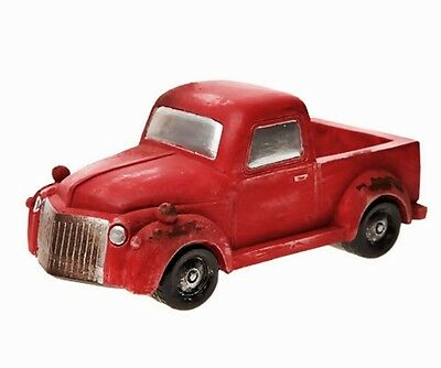"Miniature Old Fashion Red Pickup Truck Fairy Garden 6.7"" Planter Hold Packages"