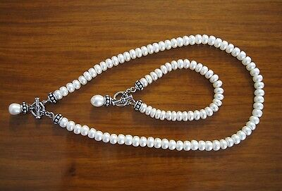 Honora Pallini Toggle Pearl Necklace Bracelet Set Sterling Silver 925