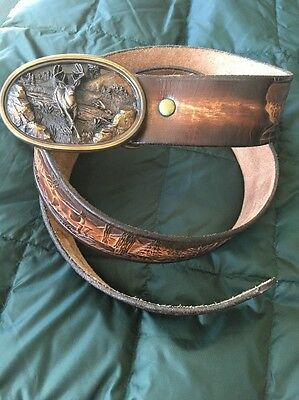 Vintage 1983 Bergamot Brass Works G145 Buck Leather Belt With Buckle