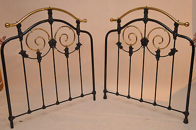 Pair of Antique Brass and Iron Beds Twin Head Boards