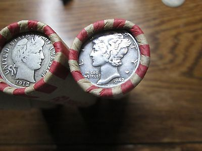 Unsearched Wheat Penny Rolls with a silver dime on the end