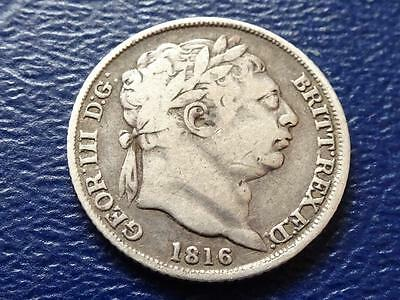 George 111 Sterling Silver Sixpence 1816 Great Britain Uk