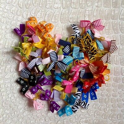 Dog Grooming Hair/Collar Small Bow Mixed  (100) FREE POSTAGE