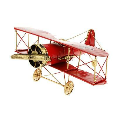 Airplane Biplane Vintage Tin Office Decor Gift Collectibles Kids Toy Red
