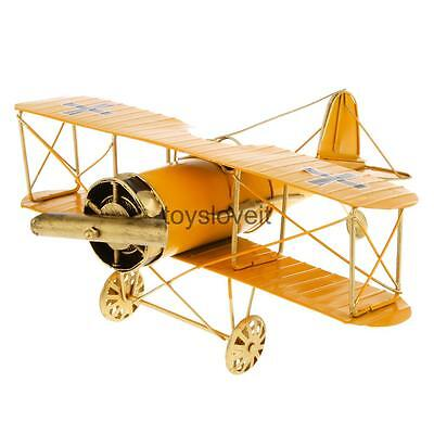 Airplane Biplane Vintage Tin Office Decor Gift Collectibles Kids Toy Yellow