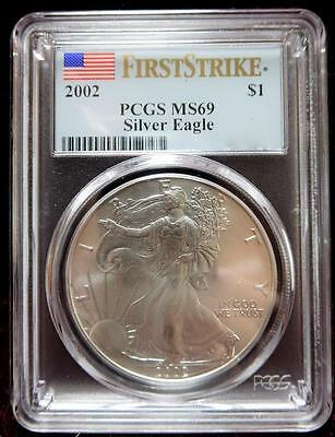2002 PCGS MS69 First Strike AMERICAN EAGLE Silver Dollar Coin