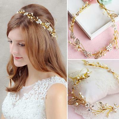 Wedding Bridal Crystal Flower Gold Hair Accessories crown Headband Tiara Jewelry