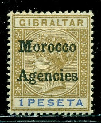 Great Britain & Area Selections - MOROCCO: Scott #7 MH 1Pe Bis/Blue (SP) CV$20+