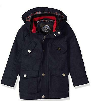 New URBAN REPUBLIC Boys Size 14-16 -Navy Winter Wool Blend Coat Jacket blue - L