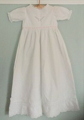 Antique Victorian baby/doll's long Christening/night dress butterfly pink ribbon