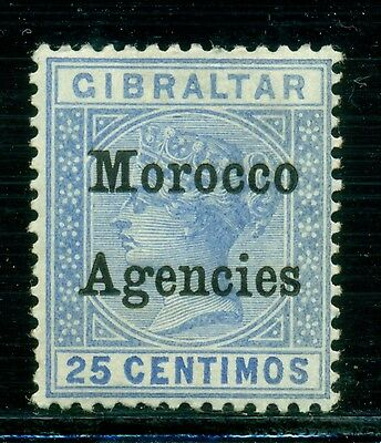 "Great Britain & Area Selections - MOROCCO: Scott #15 MH 25c NARROW ""M"" CV$12+"