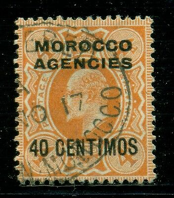 Great Britain & Area Selections - MOROCCO: Scott #40 U 40c/4p REGISTERED $$