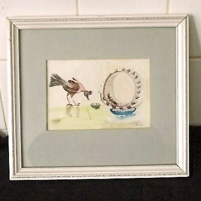 Humorous Original Watercolor Painting Of A Chicken Feeder Powered By Earwigs