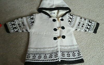 Catamini Brown & Cream Winter Cardigan With Toggles 12 Mths