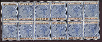 St Lucia 1898 2p ultra & red Block of 12 Sc #30 VF MNH