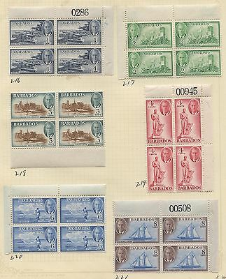 Barbados 1950 KGVI issue Blocks/Plate Blocks Sc #216-227 ml/nh- 2 SCANS