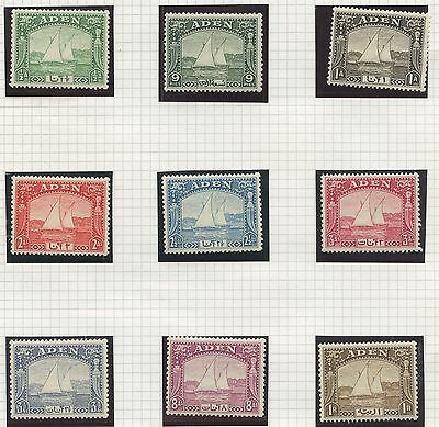 Aden 1937 Dhow Issue - short set Sc#1- 9 MNH