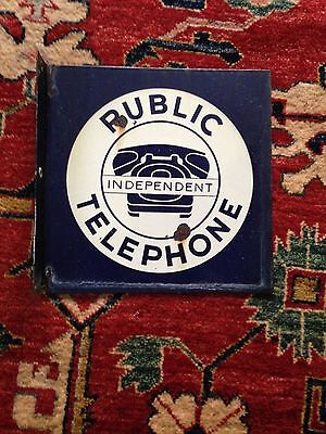 OLD Public Independent Telephone Double Sided Porcelain Flange Sign Free Ship