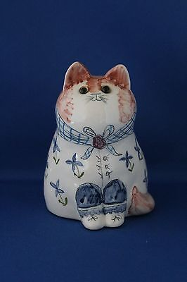 Decorative Vintage Rye Pottery Cat, 5 Inches High, Signed J.b On Base