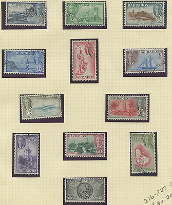 Barbados 1950 KGVI issue complete Sc #216-227 used