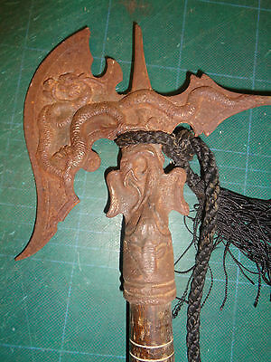 Old Axe Mystic Dragon - Chinese Mythical Cresturs- Wooden Handle & Rope Tassel