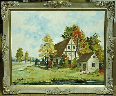 Oil On Board Painting - Autumn House Landscape - Signed By Artist - Havelock