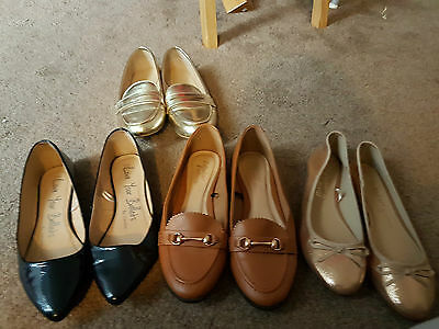 VGC 4 x pairs of womens NEW LOOK and GEORGE smart flat shoes. UK 8