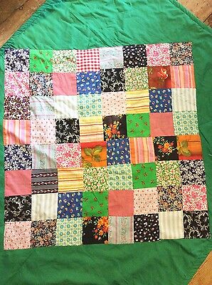 Vintage Retro patchwork quilt-1960's/70s - green and florals - good condition