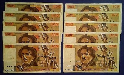 FRANCE:10 x 100 Francs Banknotes - Very Fine - all start with low S/N