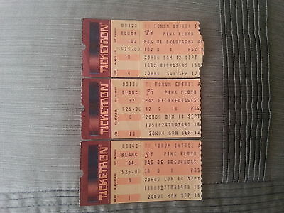 Pink Floyd - 3 stubs - Montreal Forum - 12, 13 and 14 september 1987