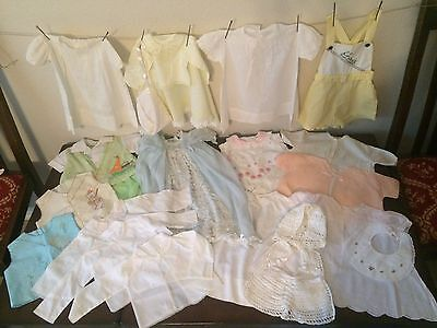 Lot 4: Vintage Antique Baby Toddler Clothes Boy Girl Dresses Embroidery overalls