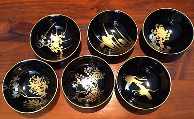 Set of 6 Small Rice Bowl Set Gloss Black and Gold Decorative Detail PreLoved