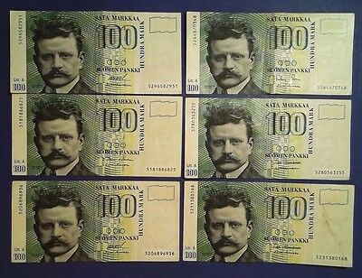 FINLAND: 6 x 100 Markkaa Banknotes (1986) - Extremely Fine Condition