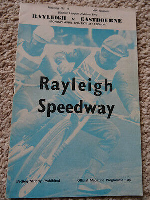 RAYLEIGH v EASTBOURNE SPEEDWAY PROGRAMME - 12 APRIL 1971